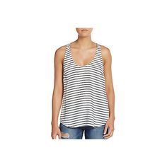 Joie Drew Striped Silk Racerback Tank ($60) ❤ liked on Polyvore