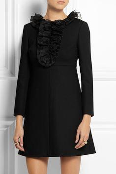 Saint Laurent|Ruffled wool-crepe mini dress