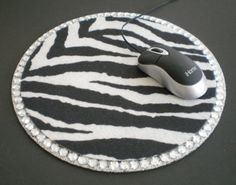 Zebra Print & Bling Mousepad by LaurieBCreations on Etsy, $9.00