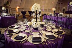 Black And Purple Wedding Reception | Romantic Royal Purple, Black and White Wedding Reception Dinner Table ...