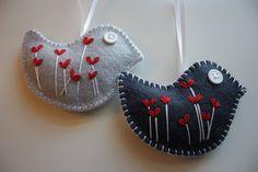 Felt Bird Ornaments/ Decorations by GeorgeNRuby on Etsy