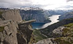 View of the #Trolltunga Rock. It is a piece of rock which is hanging horizontally out( like a tongue out of mountain) about 700 meters above the Ringedalsvatnet in the municipality of  #odda , #Norway .