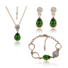 green Nickle Free Antiallergic  gold-color water For Women Fashion necklace earrings Jewelry sets