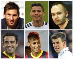 Combo de fotografías de los candidatos de la Liga BBVA a Balón de Oro 2013 de la FIFA y la publicación francesa 'France Football': (de arrib...
