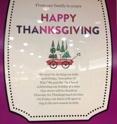 """Nordstrom Closed on Thanksgiving to """"Celebrate One Holiday at a Time""""   via NBC4 Washington 20131121"""