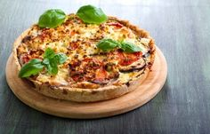 Quiche aubergine, tomate et feta Quiche Feta, Queso Feta, Cooking Time, Vegetable Pizza, Risotto, Recipies, Curry, Vegetarian, Appetizers