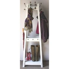 Distressed White Painted Hat And Coat Stand Co Uk Kitchen