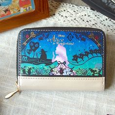 DISNEY Alice Cowhide Coin Purse Wallet Card Case Limited Made in Japan E2671 #DISNEYJapan #CoinPurse