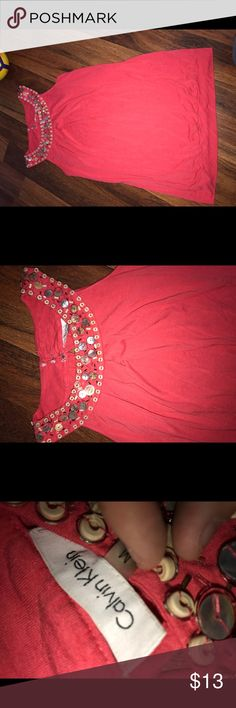 Calvin Klein fancy blouse top Medium M In great condition but is missing one hook. See pictures. Calvin Klein Tops Blouses