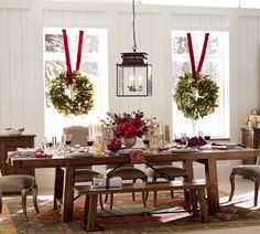 Love the iron accents on the table & nailhead on the chairs! Again, great mix of seating w a bench for the boys