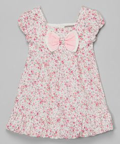This Pink Floral Bow Bubble Dress - Infant & Toddler by Les Petits Soleils by Fantaisie Kids is perfect! #zulilyfinds