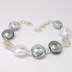 MURANO Glass Bracelet - Silver Plated - 9 inch Long - NEW