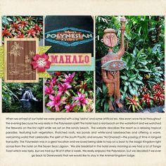 Disney Polynesian Resort at Disneyworld digital scrapbook layout by Katie Nelson