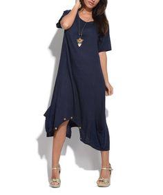 Navy Blue Olive Linen Dress