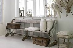 Weathered rustic look, cottage, re-purposed pew bench