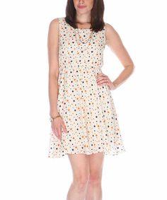 Look at this #zulilyfind! Fuchhi Style White & Blue Star Sleeveless Dress by Fuchhi Style #zulilyfinds