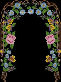 This Pin was discovered by Sem Boarders And Frames, Prayer Rug, Stitch 2, Cross Stitch Flowers, Floral Wreath, Projects To Try, Wreaths, Embroidery, Pattern