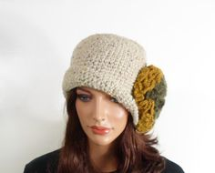 Crochet Cloche Hat with Large Flower  Beige by UnlimitedCraftworks, $40.00