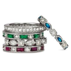 Stackable Faux Emerald Rings