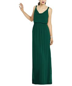 After Six Style 6666 is a full length cowl neckbridesmaiddress with a blouson bodice and a slightly shirred skirt.Style 6666 is made of lux chiffon.