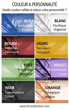 Selon des chercheurs de l'Université de Westminster, il existerait un lien entre la préférence de couleur et les traits de la personnalité. www.chromaticstore.com #symbolique #couleur