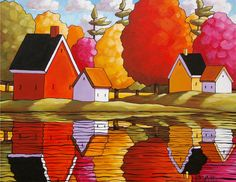 5x7 Folk Art Mini Print by Artist Cathy Horvath Buchanan. Autumn River Cottage Reflections, Fall Cabins & Tree Colors Landscape Artwork Reproduction at SoloWorkStudio on Etsy