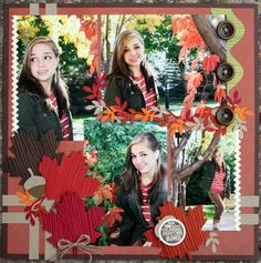 "Wendy Weixler: ""Fall is my very favorite time of year—the colors, the smells, the crispness of the air. I thoroughly enjoyed capturing that feeling in this traditional layout of my daughter, using the amazing Autumn Accents Bigz Die, in addition to the Timber Stampin' Around Wheel and Woodgrain Textured Impressions Embossing Folder."" http://www.facebook.com/photo.php?fbid=10151207678962512"