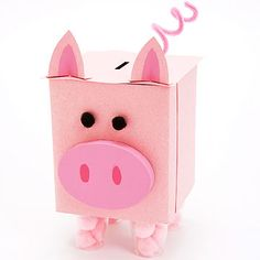 Cool Paper Crafts for Kids Sneezy Does It: Make a Piggy Bank From a Tissue Box - or use as a valenti Valentine Boxes For School, Kinder Valentines, Valentine Crafts, Printable Valentine, Homemade Valentines, Valentine Wreath, Valentine Ideas, Cool Paper Crafts, Fun Arts And Crafts