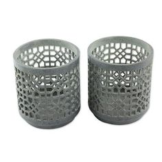 Soapstone tealight candleholders, 'Agra Geometry' (pair) - Handcrafted Natural Soapstone Tealight Holders (Pair)