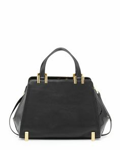 "ZAC Zac Posen Daphne Structured Leather Carryall, Black - Neiman Marcus $495.00 10""H x 16""W  A bit short, but okish."