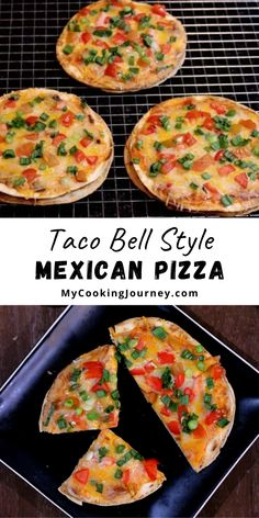 Taco Bell style Mexican Pizza is so quick to make and can be enjoyed anytime at home without having to drive over to Taco Bell. #mexicanpizza #vegetarian #tacobellpizza #vegetarianpizza @mycookinjourney | mycookingjourney.com