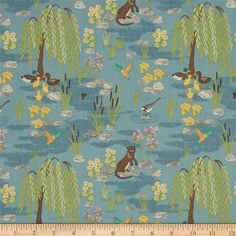 Lewis & Irene Down By The River Teal from @fabricdotcom Designed by Lewis & Irene for Springs Creative, this cotton print fabric features a serene pond scene complete with otters, flowers and hummingbirds! Perfect for quilting, apparel and home decor accents. Colors include white, black, shades of grey and blue, green, light green, dark brown, brown, tan, burnt orange, orange, mustard, yellow, purple and lavender.