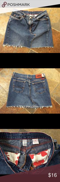 """Lucky Brand Denim Mini Skirt Lucky Brand denim mini skirt-- great condition. Pockets in front and back. Luck Brand runs small and although this skirt is tagged as a 12/31, I would consider it more like an 8-10 Medium. Measures 15"""" from waistband  to hem and about 34"""" around the waistband. Lucky Brand Skirts Mini"""