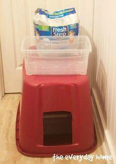 Diy Litter Box, Litter Box Covers, Litter Pan, Cat Toilet, Old Cabinets, Kitchen Cabinets, Plastic Bins, Diy Box, Diy Stuffed Animals