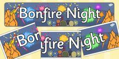 Bonfire / Fireworks Night Display Banners - Bonfire, Fireworks