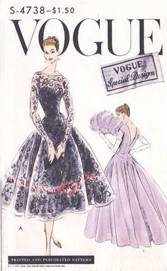 1950s Lovely Evening Gown or Cocktail Dress Pattern Vogue Special Design 4738 Figure Flattering Full Skirt Dress Deep V Back Ideal For Lace Sheer Fabrics  Bust 38 Vintage Sewing Pattern