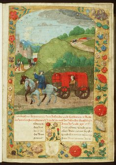 Medieval Covered Wagon | August : A wagon loaded with hay in the far background.