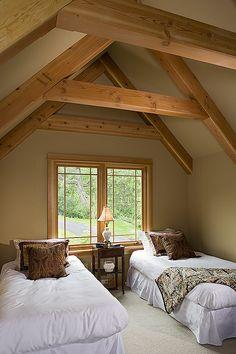 Guest bedroom in a douglas fir woodhouse timber frame home timber frame homes Custom Douglas Fir Frame 3 House Design, Timber Frame Homes, Timber Frame Cabin, Home, New Homes, Timber Frame, House Interior, Timber House, Guest Bedroom