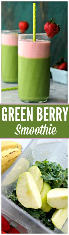 This easy Green Berry Smoothie is a healthy breakfast drink with a protein boost! It's loaded with fresh kale, strawberries, bananas and apples. Breakfast Drinks Healthy, Yummy Drinks, Healthy Drinks, Breakfast Recipes, Easy Smoothie Recipes, Smoothie Drinks, Healthy Green Smoothies, Fruit Smoothies, Tumeric Milk Recipe