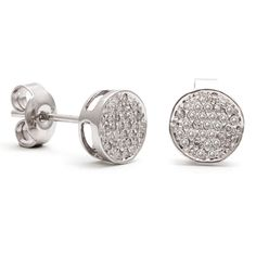 These round disk earrings feature 0.19 carats of diamonds set in fourteen karat white gold.  These earrings can be worn in a casual or formal setting.
