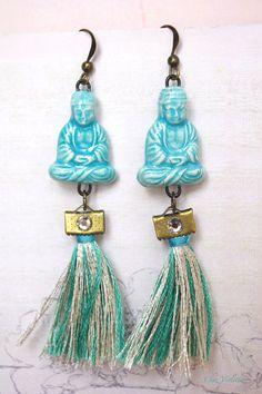 #Aquamarine #Buddha #earrings #tassel #fringe #Zen #Yoga #Pastel #jewelry www.cocoflower.net
