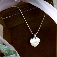 17mm x 22mm Solid 925 Sterling Silver Sigma Delta Tau Heart Pendant