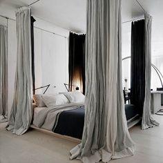 Modern Bedroom Design. A cool, crisp, canopy bed. Interior Designer: Rick Joy.