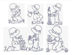 Sunbonnet Sue in the Garden set of 10 Size 4 x 4 Designs Redwork  You get all the Designs you see in the photos. (usually a set of 10 some have