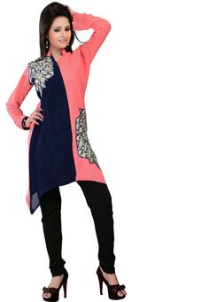 #Alesia Pink And Blue Georgette Kurti! #Alesia Pink And #Blue Georgette #Patch Patta Work Kurti. Product colour & Patch Patta may slightly vary due to photographic lighting sources or your monitor settings. INR:1,013.00 Only With Amazing Discount and Offers Shop now at:https://goo.gl/8mJzX2