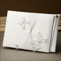 Guest Book - Radiant Butterfly - White