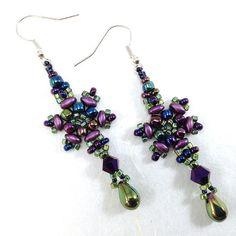 Iridescent Earrings, Beaded Drop Earrings, Delicate Earrings, Crystal Earrings, Snowflake Earrings