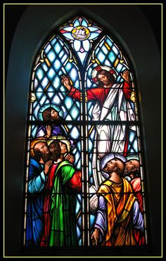 The Feast of the Ascension, celebrated on the day of Easter (always a Thursday), is one of the chief feasts of the Christian year. The feast dates back at least to the later century, as is widely attested. Mount Carmel Church, Lady Of Mount Carmel, Stained Glass Art, Stained Glass Windows, Ascension Of Jesus, My Redeemer Lives, New Saints, Prayer Book, St Joseph