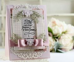 Card Making Ideas by Becca Feeken using Quietfire Design - Just Living is Not Enough, Spellbinders Floral Berry Accents, Spellbinders Deco Duality, Spellbinders Heirloom Oval, Spellbinders Pierced Rectangles - see supply list and construction information at www.amazingpapergrace.com