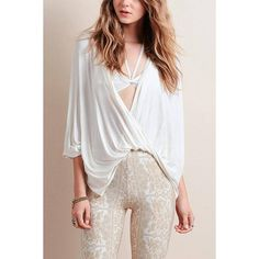 Yoins Plunging Neck Front Twist Drape Blouse ($21) ❤ liked on Polyvore featuring tops, blouses, shirts & tops, white, white top, plunging neckline blouse, plunge neck top, shirt blouse and twist front top
